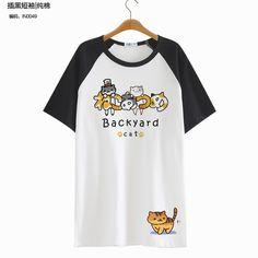 2016 Neko Atsume Short Sleeve Blusa Peplum Tops Tee Summer T shirt Lolita Kawaii Clothes Cat Cute Harajuku Shirt-in T-Shirts from Women's Clothing & Accessories on Aliexpress.com   Alibaba Group