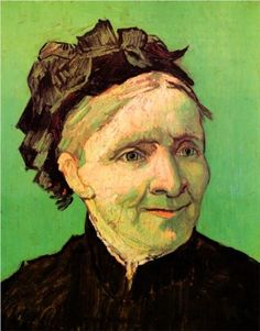 Portrait of the Artists Mother - Vincent van Gogh-1888  before his confinement, while living in the south of France, he painted this vivid remembrance of his mother from a black& white photograph of her.