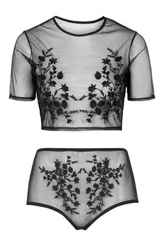 Embroidered Mesh Crop Top Clothing, Shoes & Jewelry - Women - Clothing - Lingerie, Sleep & Lounge - Lingerie - Lingerie, Sleepwear & Loungewear - http://amzn.to/2lSL4Y7