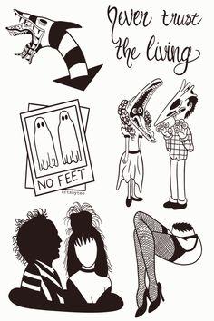 never trust the living Beetlejuice Tattoo, Tim Burton Beetlejuice, Tattoo Drawings, Body Art Tattoos, New Tattoos, Tattoos Skull, Piercing Tattoo, I Tattoo, Beetlejuice