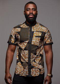 Tops - Olu Short Sleeve Mandarin Button-Up African Print Shirt (Black Brown Geometric) African Shirts For Men, African Dresses Men, African Attire For Men, African Clothing For Men, African Wear, African Style, African Clothes, African Women, African Inspired Fashion