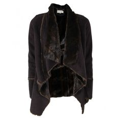 Michael Kors Womens Brown Faux Mink Shearling Unstructered Coat