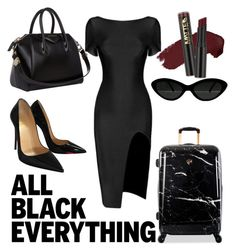 """Inner Critic #2"" by tigergenel on Polyvore featuring Christian Louboutin, Heys, Givenchy, L.A. Girl and allblackoutfit"