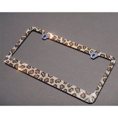 premium bling brownblack leopardbrown cap a type crystal diamond rhinestone metal chrome license plate frame