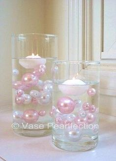 80 Light Pink/Baby Pink and White Pearls Jumbo and Assorted Sizes - Vase Fillers Value Pack.To Float the Pearls, you will need to order the Transparent Water Gels Separately. Shower Party, Baby Shower Parties, Baby Shower Themes, Bridal Shower, Shower Ideas, Pearl Baby Shower, Shower Cake, Baby Shower Centerpieces, Baby Shower Decorations