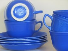 Delphinium Blue USA Cups and Saucers Hand Thrown Camark Pottery American Pottery Set of Five