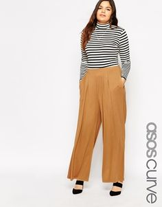 ASOS CURVE Pant With Wide Leg In Camel
