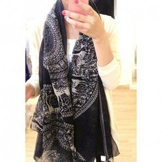 Ethnic Style Fawn & Totem Pattern Scarf, BLACK in Scarves