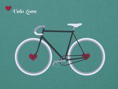 Velo Love bicycle art by Krautput via etsy