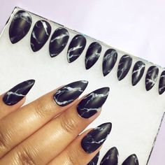 Black or White Stone Marble Press On Nails in Matte or Glossy finish ($20) ❤ liked on Polyvore featuring beauty products and nail care