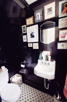 Keep Smiling: Black Powder Room Before & After