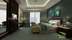 #3D Photo Realistic Interior Hotel Bedroom Design