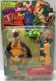 (TAS033766) - 1994 Playmates Earthworm Jim Action Vintage Figure - Psycrow