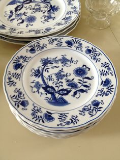 """Vienna Woods Fine China Blue 7.5"""" - reminds of plates my parents had when I was a kid."""