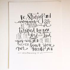 Scripture Print/Deuteronomy 31:6 by RachelBDesigns on Etsy