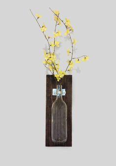 Wall Mounted Wine Bottle Flower Vase - I feel like I could make this myself.