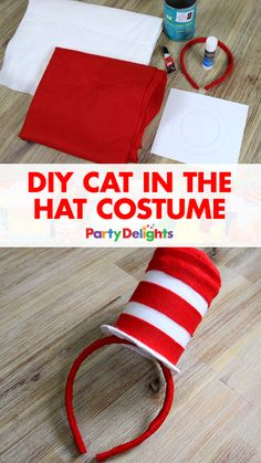 Looking for a good DIY World Book Day costume? Try this DIY Cat in the Hat dr. seuss costume including how to make your own Cat in the Hat top hat out of an old baked beans tin. An easy Dr Seuss costume that's perfect for World Book Day Meme Costume, Costume Chat, Costume Makeup, Dr Seuss Costumes, Teacher Costumes, Diy Halloween Costumes, Costume Ideas, Costumes Kids, Easy Costumes
