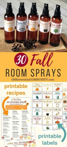 30 fall room spray recipes with essential oils. Easy to make all-natural homemade air freshener sprays in about 30 seconds. Fall Essential Oils, Essential Oils Room Spray, Essential Oil Blends, Homemade Essential Oils, Making Essential Oils, Cinnamon Essential Oil, Vanilla Essential Oil, Orange Essential Oil, Aromatherapy