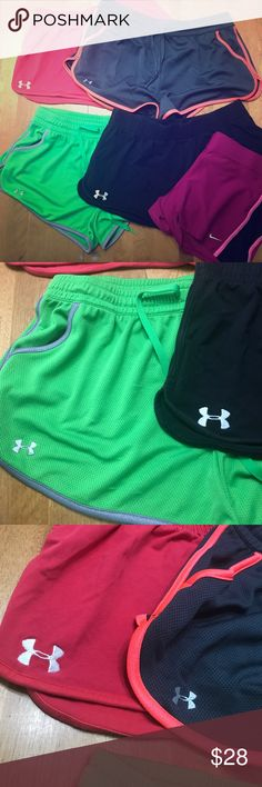 Under Armour and Nike Size Large Workout Short Lot (5) pair of shorts. All Size Large but the Nike ones. They are a XL but fit like a large. They have a very small hole on side we're the retail tag was. The Under Armour ones are Pink with white logo, Gray with Silver logo and hint of neon pink, black with white logo (look faded but that's how I bought), green with silver. All worn but in great condition. Under Armour Shorts