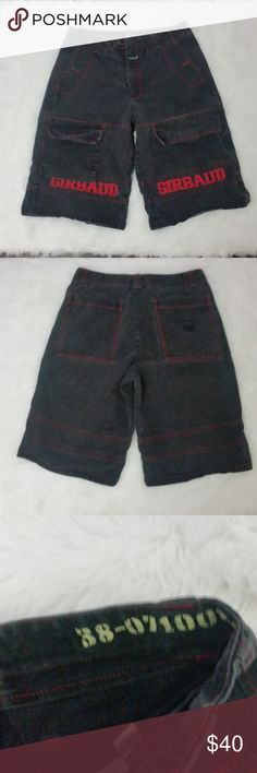 """Vtg Girbaud Mens Denim Cargo Shorts 34 RUNS SMALL! Marithe Girbaud Mens Cargo Shorts 34 Denim Black Jean ****Runs two sizes small**  $$$$$$********Please see exact measurements! These shorts will not fit a size 34********$$$$$$  Waist (laying flat): 16"""" Inseam: 13.5"""" Leg Opening: 13""""  Fabric Content: 100% Cotton  Trusted Seller. Fast shipping.  Please check out my other listings. Items being added daily. Thanks for stopping in!  Posh By Design Marithe Girbaud Shorts Cargo"""
