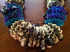 Money Lei  •  Free tutorial with pictures on how to make a recycled necklace in under 180 minutes