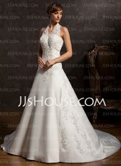 Wedding Dresses - $192.99 - A-Line/Princess Halter Chapel Train Satin Wedding Dress With Embroidery Beadwork (002015162) http://jjshouse.com/A-Line-Princess-Halter-Chapel-Train-Satin-Wedding-Dress-With-Embroidery-Beadwork-002015162-g15162