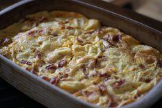 Breakfast Casserole - sausage, 6 eggs, milk, cheese, ground mustard, cubed bread