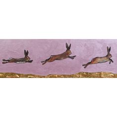 Found it at Wayfair - 'Brown Bunnies Jumping over Gold Mountain' by Eli Halpin Painting Print on Canvas