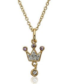 Deck a little princess in sparkling gold and crystal for loads of smiles and thank yous. With a regal crown dangling from a delicate chain, this pretty necklace makes the perfect royal gift.