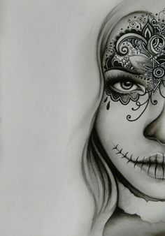Free hand sketch day of the dead style. Charcoal and pen. Free hand sketch day of the dead style. Charcoal and pen. Skull Girl Tattoo, Skull Tattoos, Girl Tattoos, Sleeve Tattoos, Tattoo Sketches, Tattoo Drawings, Cool Drawings, Art Sketches, Tattoo Art