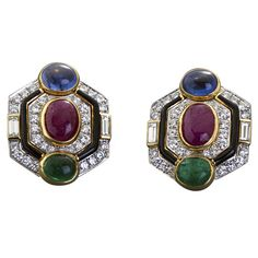 DAVID WEBB Diamond & Multi Color Gems Gold and Enamel Ear Clips