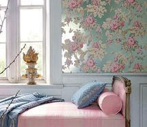 House of Turquoise: Romantic Turquoise Bedrooms The wall paper is to die… Wallpaper Bedroom, Blue Rooms, French Wallpaper, Room Decor, Anna French Wallpaper, Decor, House Interior, Pretty Room, Beautiful Bedrooms