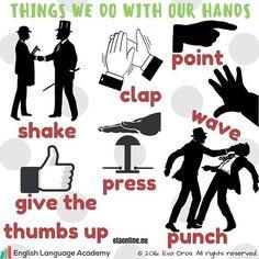 Vocabulary- Things we do with our hands #ESL #EFL #studyenglish , #englishlesson #englishlearning #englishlanguage #englishvocabulary #englishteacher #anglictina #hodinaanglictiny #instahappy #instadaily #instagood