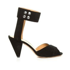 Isabel Marant Étoile Meegan cone-heel suede sandals (£135) ❤ liked on Polyvore featuring shoes, sandals, black, black suede sandals, isabel marant sandals, black strappy shoes, strap sandals and black shoes