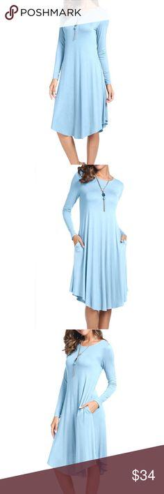 Plain Long Sleeve Pockets Pleated Swing Midi Dress Women's Plain Long Sleeve Pockets Pleated Loose Swing Casual Midi Dress Dresses Midi