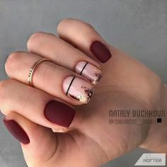 55 Pretty and Awesome Burgundy Nail Art Designs – Nageldesigns – Nails Burgundy Nail Designs, Burgundy Nail Art, Love Nails, Pink Nails, Pretty Nails, Black Nails, Maquillage On Fleek, Short Nails Art, Minimalist Nails