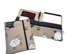 Notebook Organizer Linen  / Passport Cover White Sheep by Driworks
