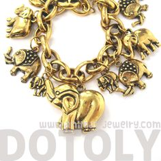 If you are looking for a unique elephant charm bracelet, look no further! This bracelet is perfect for you, it features 8 elephant charms in a lovely gold coppery tone! Cute Elephant, Elephant Stuff, Elephant Bracelet, Super Cute Animals, Animal Jewelry, Gold Jewelry, Jewelry Bracelets, Charmed, Elephants