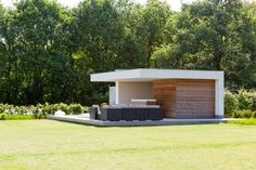 Modern Pool Designs and 3 Things Every Pool Owner Should Know – My Life Spot Modern Pool House, Modern Pools, Outdoor Rooms, Outdoor Gardens, Outdoor Living, Cabana, Outdoor Buildings, Garden Pavilion, Shed Homes