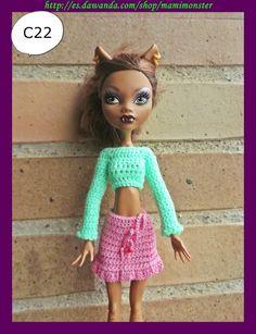 Ropa para muñecos - Conjunto para muñecas Monster High - hecho a mano por mamimonster en DaWanda
