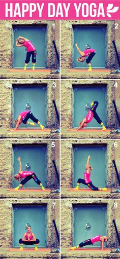 Get your happy on with a daily dose of yoga. Start with Sun salutations then Do the sequence twice, alternating sides so you get an even workout.  http://wwwyogafitnessflow.blogspot.com/
