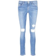 Frame Denim 'Le Skinny De Jeanne' distressed jeans ($240) ❤ liked on Polyvore featuring jeans, blue, skinny jeans, ripped skinny jeans, destroyed jeans, blue jeans and light wash skinny jeans