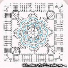 ideas crochet granny square pattern flower for 2019 Motif Mandala Crochet, Crochet Blocks, Granny Square Crochet Pattern, Crochet Diagram, Crochet Chart, Crochet Squares, Crochet Granny, Diy Crochet, Crochet Doilies