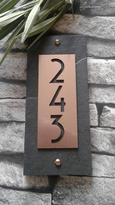 House numbers copper modern vertical address plaque in 2019 Craftsman House Numbers, Modern Craftsman, House Numbers Modern, Metal House Numbers, House Number Plaques, House Address Numbers, Number Signs For House, Home Address Signs, Contemporary House Numbers