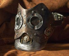 Handmade leather art Halloween robot steampunk mask Burning hot Comicon Man