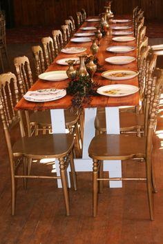 Long hardwood tables with vintage tiffany gold chairs at The Hall Gold Chairs, Hardwood Table, Wedding Venues, Wedding Ideas, A Boutique, Perfect Place, Tiffany, Table Settings, Tables