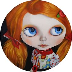 "https://flic.kr/p/77JHrz | Riiko the Vivacious | i was so happy painting this girl, such glorious hair and quirky clothes!! this is an original oil painting on round canvas 20"" diameter with thanks to the lovely Ana aka PassasAoRum who let me paint her lovely Riiko and named the painting too! you can find her and her girls here... www.flickr.com/photos/33644466@N02/ thanks Ana ♥ and also thanks to very kind and taletned Lilitix who brought her to life in the first place, her beautifu..."