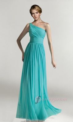 Long Blue One Shoulder Prom Gown FPD063 - £108
