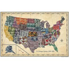 Stamp Map USA ❤ liked on Polyvore featuring home, home decor, wall art, vintage wall art, vintage home accessories, map home decor, vintage home decor and map wall art