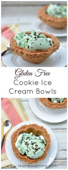 Why serve your ice cream in a dish when you can serve it in a gluten free cookie bowl? These bowls are fun to eat after the ice cream is all gone. Gluten Free Deserts, Best Gluten Free Recipes, Gluten Free Sweets, Gf Recipes, Foods With Gluten, Gluten Free Cookies, Gluten Free Baking, Vegan Gluten Free, Dairy Free